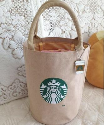 Brand New Starbucks Coffee Shopping Canvas Bag Light Brown Tote Bag  w/keychain