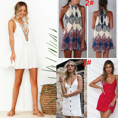 Sommerkleid Frauen Armelloses Kleid Boho Style Short Beach Dress
