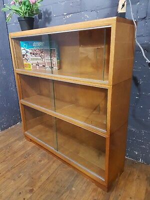 mid century beech MODULAR MINTY OXFORD STACKING LEGAL BOOKCASE GLASS DOORS