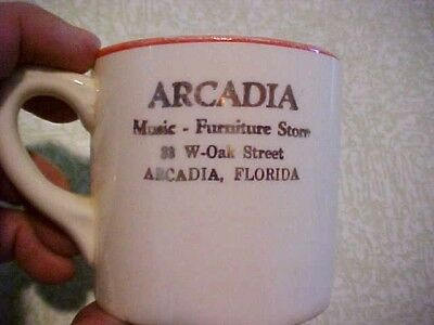 Vtg. Child's Adv. Drinking Cup Arcadia Music Furniture Store-Arcadia, Florida