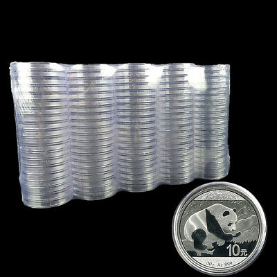 10Pc 40mm Transparent Round Coin Storage Box Collection Protector Holder Supply