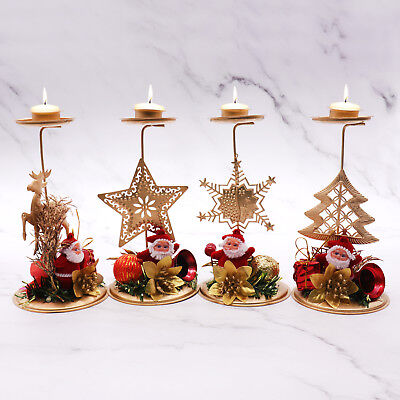 4pcs Candle Holder Christmas Tree Snowflake Star Elk Hollow Iron Candlestick Dec