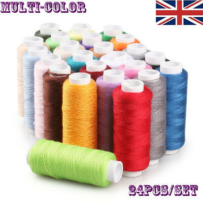 24 Spools Color Quality Sewing All Purpose Strong Polyester Cotton Thread Reel