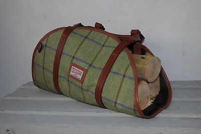 beautiful hand made country tweed leather an wax cotton log carrier