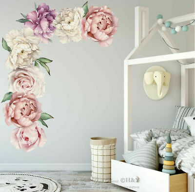 Individual Peony Rose Flower Wall Art Sticker Nursery Decor Kids Room Decal Gift
