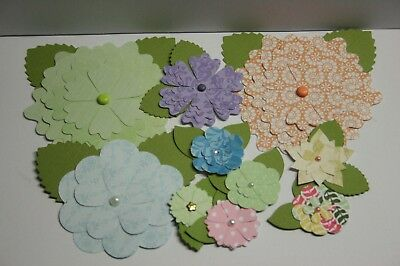 Handmade Paper Flower Embellishments  Scrapbooking card making 8