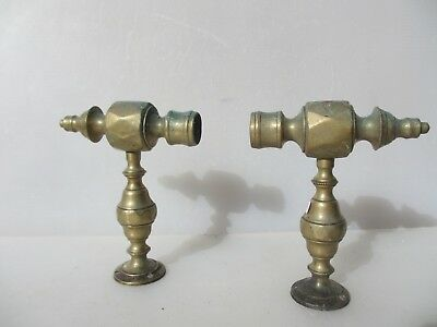 Victorian Brass Rail Brackets Ends Guard Foot Antique Towel Old Fireplace