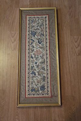 Beautiful Vintage Framed Chinese Silk Embroidered Panel