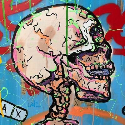 Alec Monopoly Oil Painting on Canvas Graffiti art wall decor Skeleton 28x28""