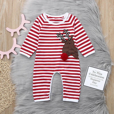 1PC Newborn Baby Boy Girl Christmas Striped Deer Romper Jumpsuit Clothes Outfits
