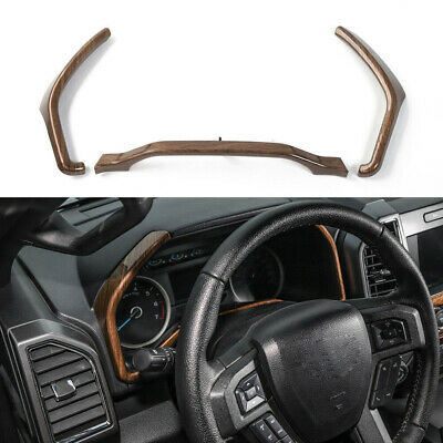 Wood Grain Inner Dashboard Instrument Box Cover Trim Fit For Ford F150 2015-2017