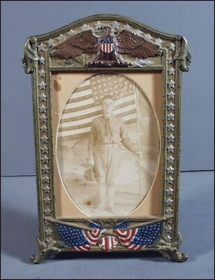 Vintage Patriotic Red White & Blue Cast Iron Picture Frame & Soldier Photo