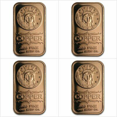 4 X Liberty Head 1 Oz Avdp 999 Copper Bar Bullion Coins & Paper Money Trustful 4 X 1 Once Avdp Cuivre Pur 999