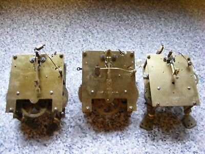 Vintage Clock Movement X 3 Brass Part Spares Strikers No Makers Names
