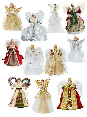 Deluxe Tree Top Angel Christmas Decoration Topper Fur Xmas Tradtional Fairy