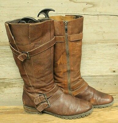 Enzo Angiolini Easten Womens Brown Leather Buckle Biker riding Boots Sz 9M bcd26435c943