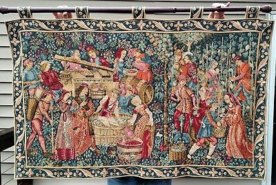 "Goblys Vendanges Vintage Jacquard French Tapestry Wall Hanging 55"" x 36"" Wine"