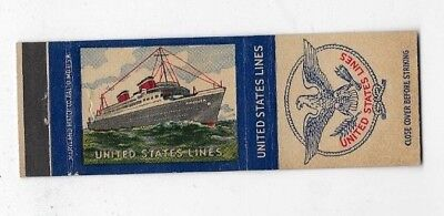 Vintage Matchbook Cover UNITED STATES LINES SS America Steamship #967