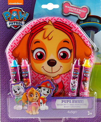 Paw Patrol Bath Time Fun Set - Body Crayons And Wash Mitt