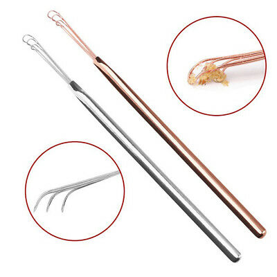 2 Pcs Portable Stainless Steel Ear Wax Cleaning Removal Tool Ear Pick Adults