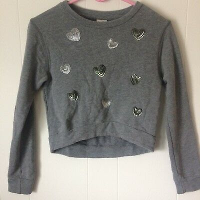 Abercrombie Kids Girls Sweater Size Small Gray With Sequence Hearts