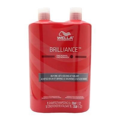 WELLA Brilliance Shampoo & Conditioner Fine to Normal Coloured Hair, Liter Duo