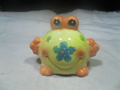 New ~ Ceramic Yellow Big Belly Frog Bank