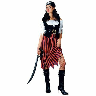 Pirate Lady Shipmate Island Fantasy Captain Adults Womens Fancy Dress Costume