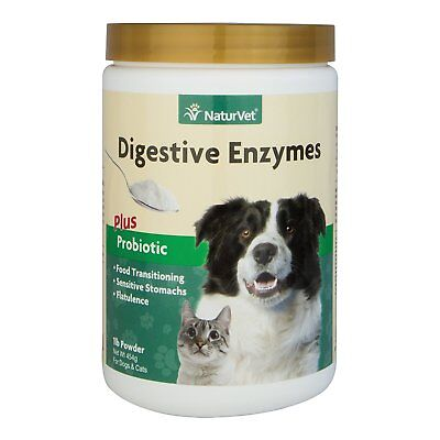 NaturVet DIGESTIVE ENZYMES PROBIOTICS Healthy Digestion for Dogs and Cats 1 lb