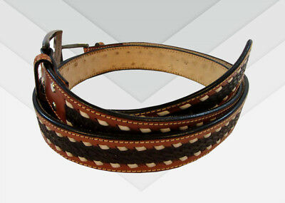 Western Mens Leather Floral Tooled Belt Jeans Gun Casual Brown White Stitch