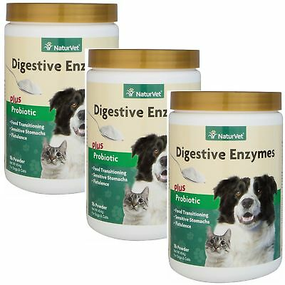 NaturVet DIGESTIVE ENZYMES & PROBIOTICS Healthy Digestion Dogs & Cats 1lb 3PACK