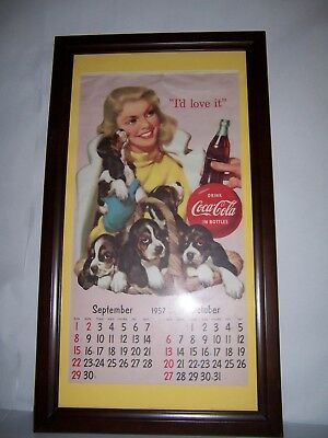Vintage Framed 1957 Drink Coca Cola I'd Love It Calendar Page Advertising