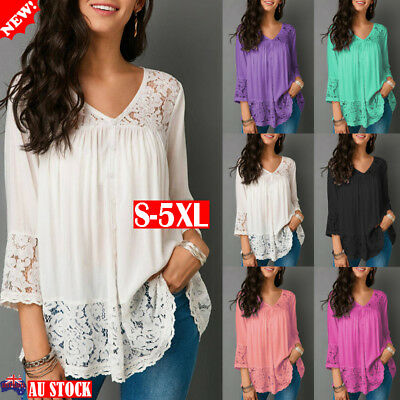 Plus Size Women Lace T Shirt V-Neck 3/4 Sleeve Summer Casual Loose Tops Blouse