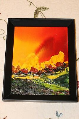 Abstract Landscape - Signed Oil Painting On Board