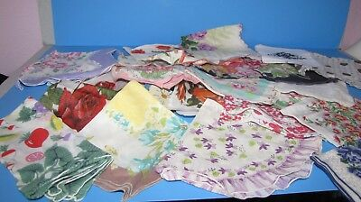 Lot of Vintage Floral Hankies Handkerchiefs Textiles Crafts Sewing or
