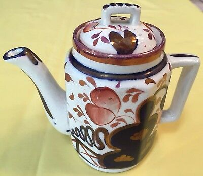 Early Gaudy Welsh Child'S Size Teapot W/lid In Oyster Pattern-Great Condition
