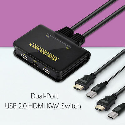 Dual Port USB HDMI KVM Switch Switcher + Cable For 2 Monitor Keyboard Mouse AU