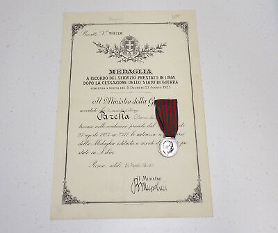 Original WWII Era Italian Libia Silver Medal w/ Document