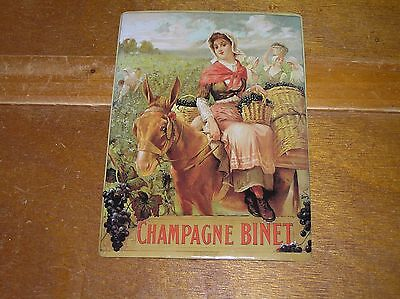 Vintage Reproduction Champagne Binet Girl on Donkey with Basket of Grapes Metal