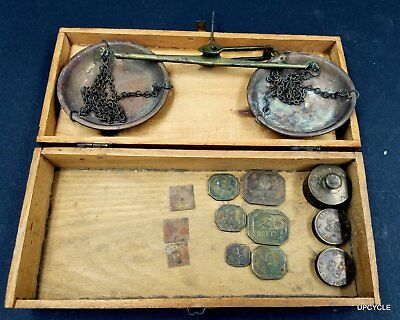 Antique handheld gold scale German with penny/grain/oz weights