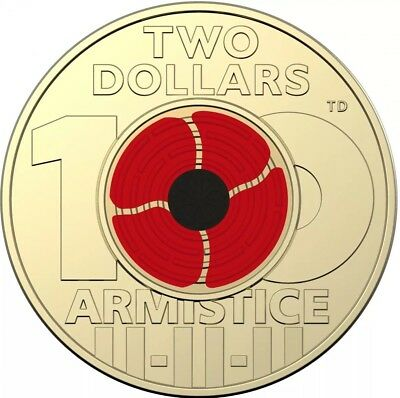 2018 $2 REMEMBRANCE DAY ARMISTICE CENTENARY RED POPPY From MINT BAG  FREE POST