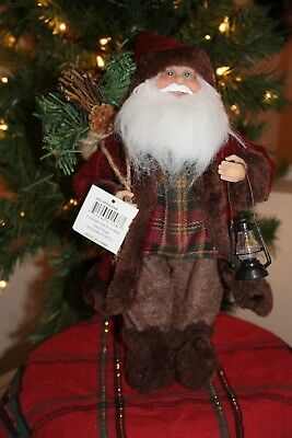 "Good Tidings 16"" Christmas Woodland Country Santa Claus with Lantern NWT"