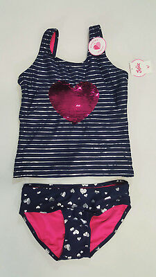 NWT Justice Girls Size 8 10 12 or 16 Navy Heart Flip Sequin Tankini Bathing Suit