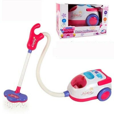 For Kids Vacuum Cleaner Role Hoover Fun Realistic Toy Pink with Light Sound Play