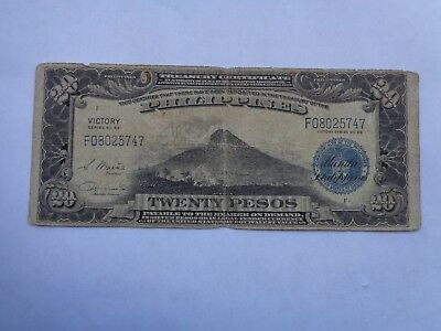 Philippines Paper Money Victory 20 Pesos Banknotes 1940s Circulated
