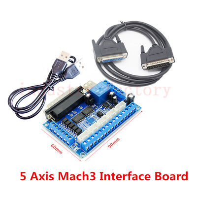 CNC 5 Axis USB MACH3 Breakout Board Motor Driver Interface Control + DB25 Cable