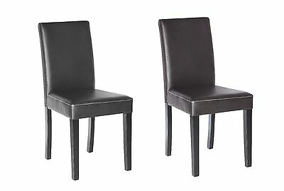 Set of 2 Elegant Design Leather Modern Dining Chairs Room Kitchen Seats