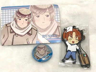 Hetalia The World Twinkle, Russia Mini Can Button, Card and Italy Rubber Charm
