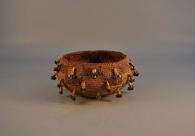 Early California Pomo Indian Beaded Basket - Tightly Woven - Mint - Late 1800s