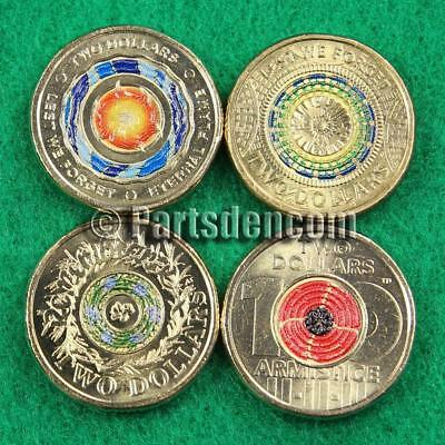 4 x $2 two dollar coins coloured 2017 2018 Anzac Remembrance Armistice coin